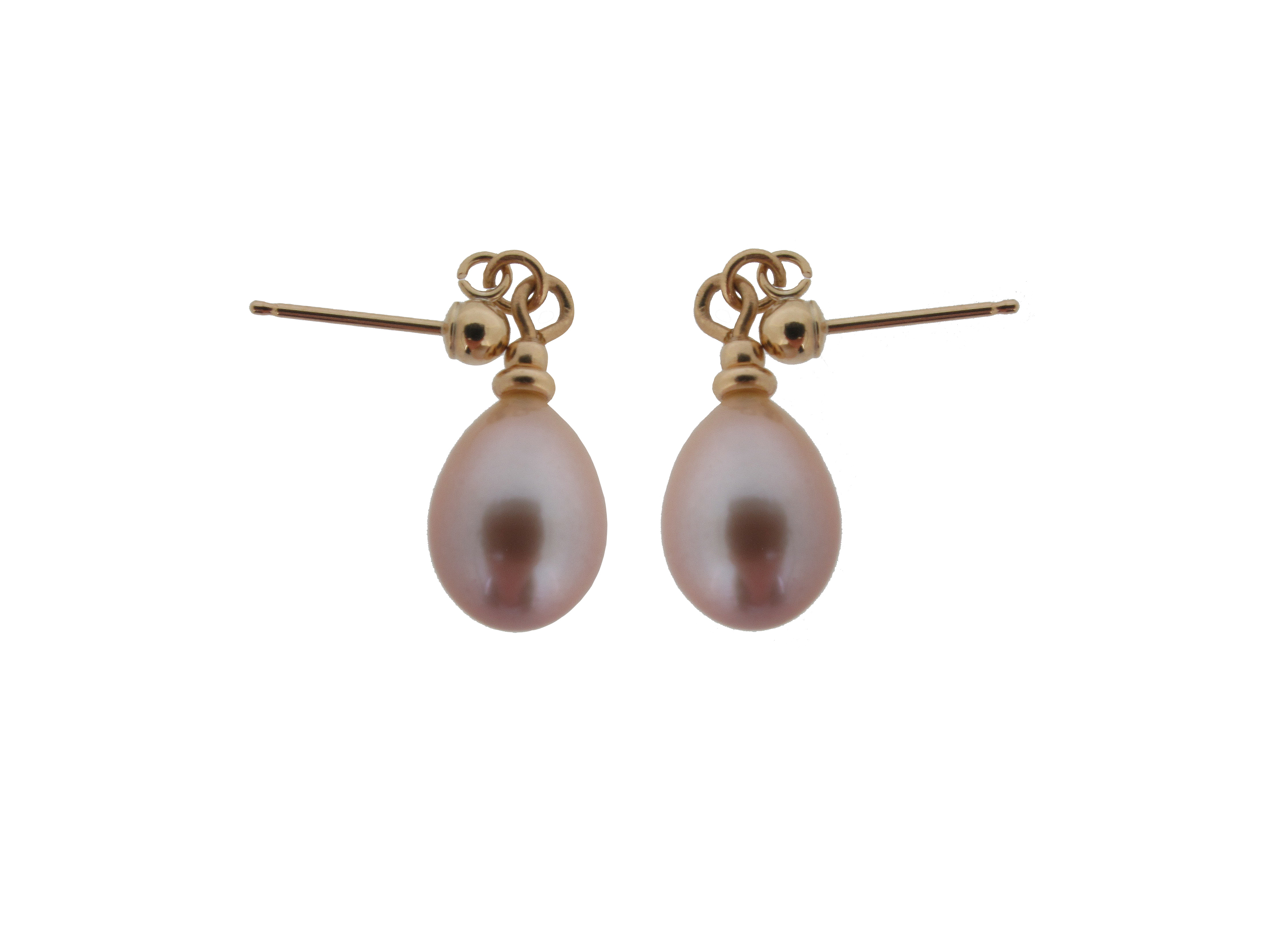 9ct yellow gold pink pearl earrings