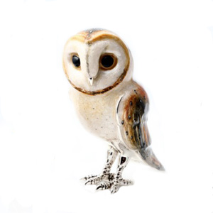 Sterling Silver and Enamel large Barn Owl