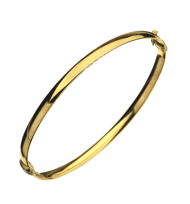 Yellow Gold 3.95mm oval hollow hinged bangle