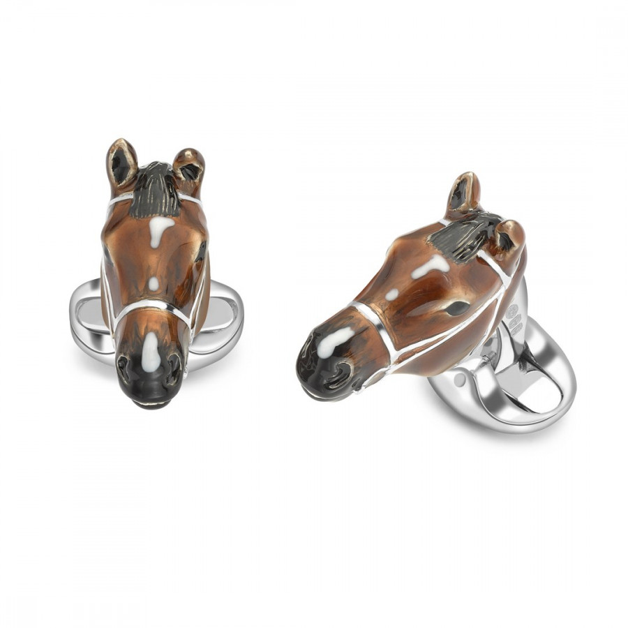 A pair of Sterling Silver and Enamel Horse head cufflinks