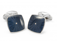 Deakin & Francis Sterling Silver Bentley Blue Square Cufflinks