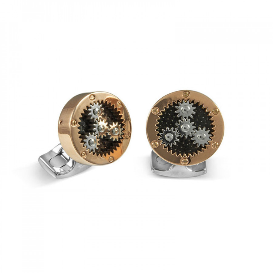 A pair of rose gold plated Sun and Planet Gear cufflinks