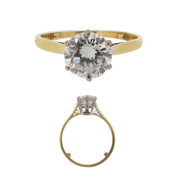 A second hand preowned 18ct Yellow & White Diamond Solitaire Ring