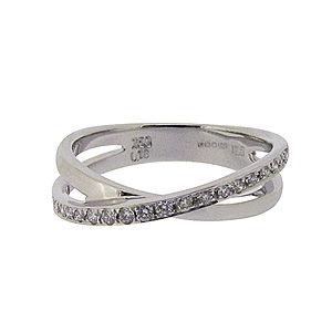 18ct White Gold Diamond Crossover Band