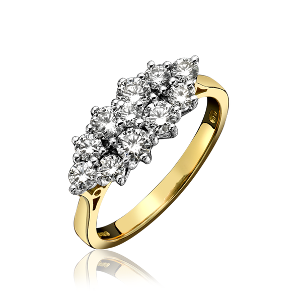 18ct Yellow Gold 0.93ct Diamond Cluster Ring