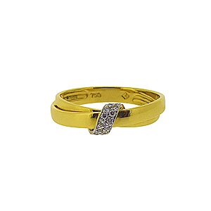 18ct Yellow + White Gold Diamond Ribbon Cluster