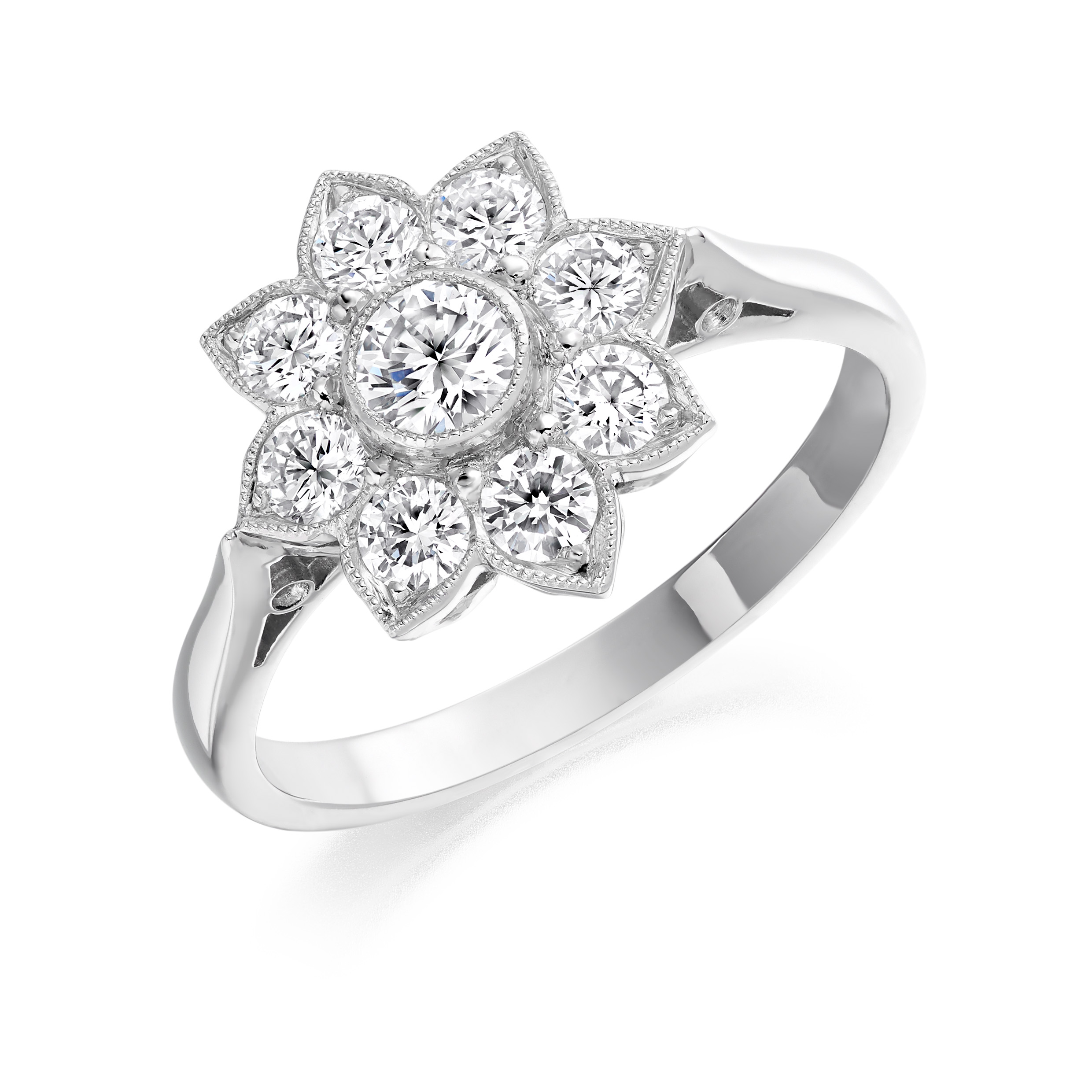 Platinum 0.75ct Nine Diamond Flower Cluster Ring