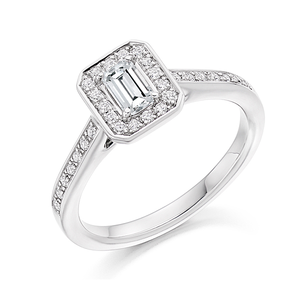 Platinum 0.51ct Halo Diamond Ring