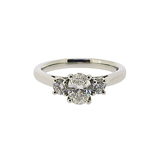 Platinum Three Diamond Ring