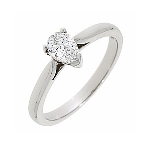 Platinum 0.45ct Pear Cut Diamond Engagement Ring