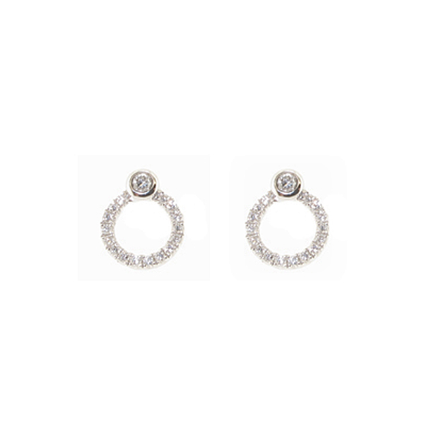 18ct white gold diamond polo earrings