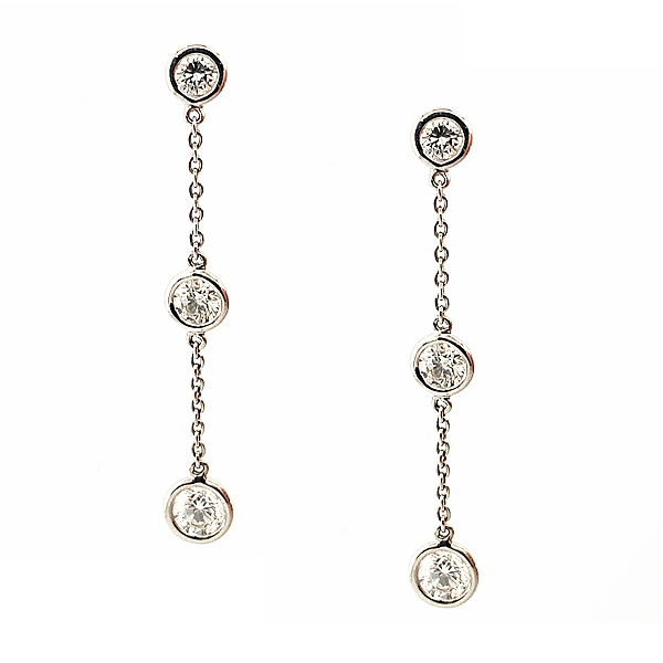 18ct White Gold 1.58ct Diamond Drop Earrings