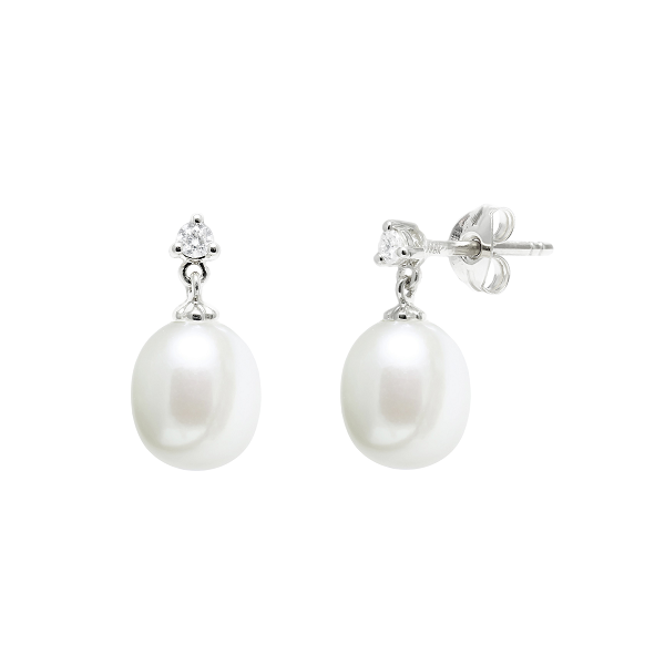 18ct White Gold Pearl + 0.10ct Diamond Stud Earring