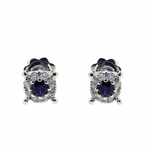 18ct white gold diamond + sapphire earrings