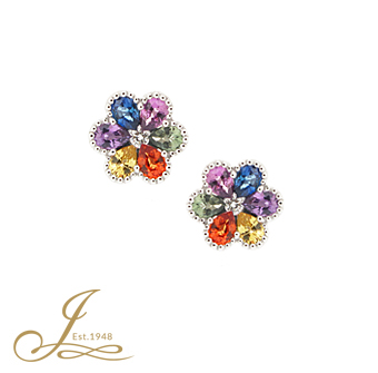 6ac64dc16 Jacobs Presents: Sapphire + diamond flower stud earrings