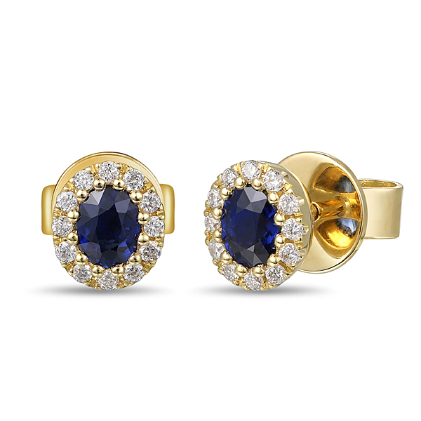 18ct Yellow Gold 0.40ct Sapphire + 0.12ct Diamond Earrings