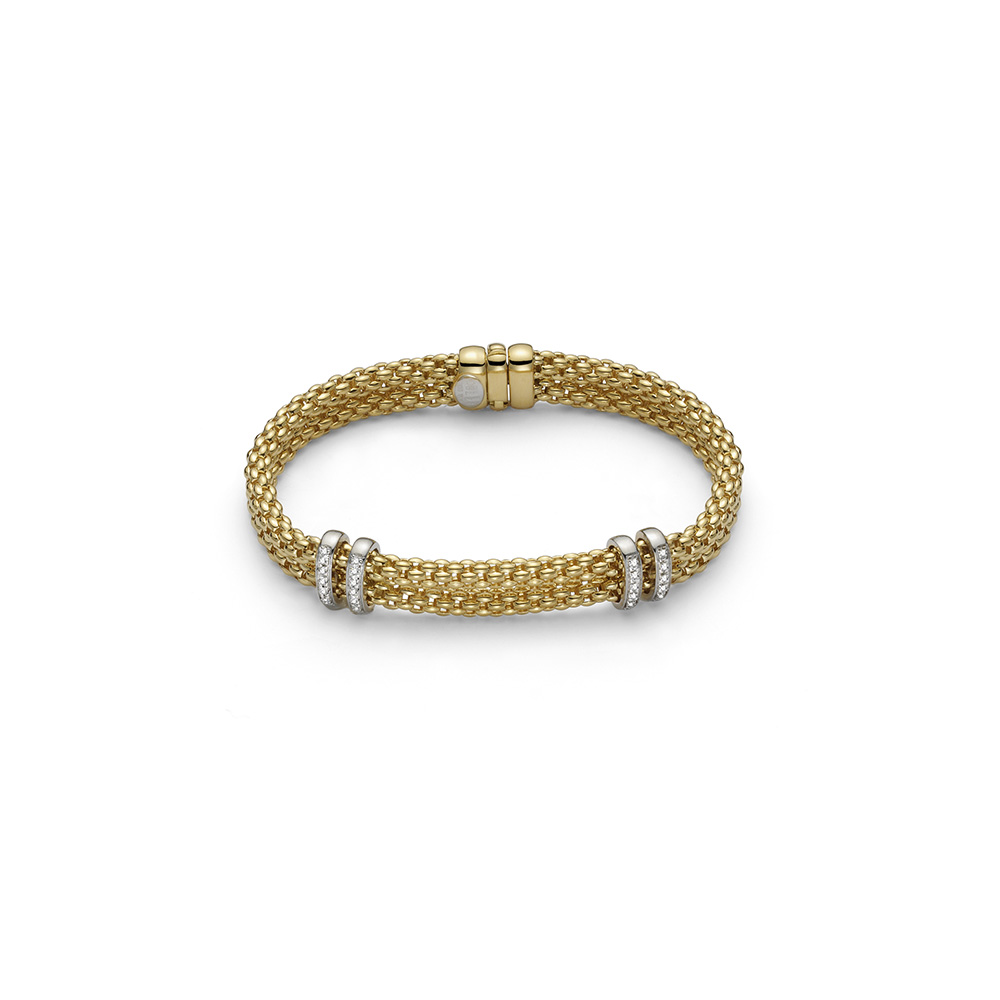 Yellow gold Fope Maori bracelet with box and tongue clasp