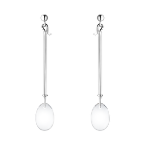 Georg Jensen Sterling Silver Dew Drop earrings with Rock Crystal