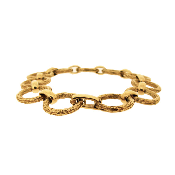 Second Hand 9ct yellow gold bark link bracelet