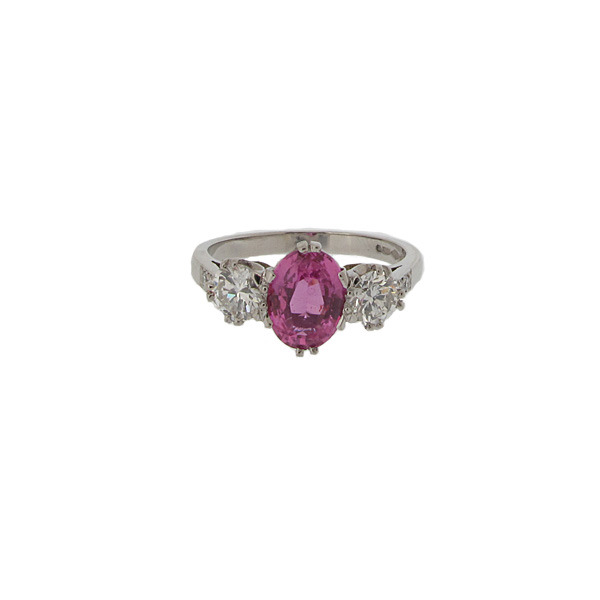 A second hand preowned Platinum Pink Sapphire & Two Diamond Ring
