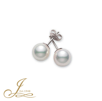 Mikimoto 18ct White Gold 8-8.5mm Pearl Studs