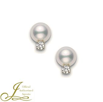 Mikimoto Pearl Diamond Earrings