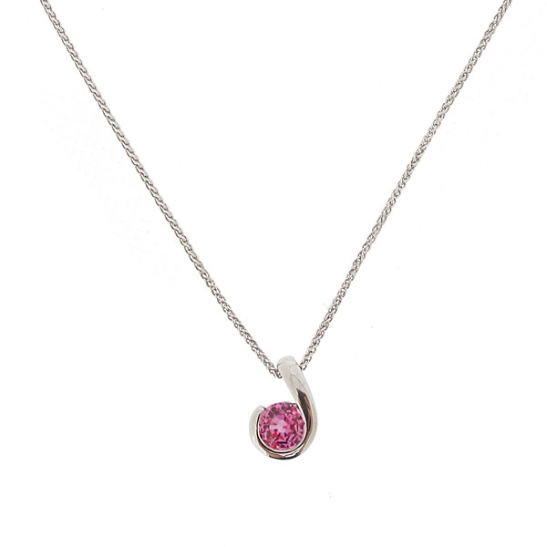 18ct white gold pink sapphire pendant