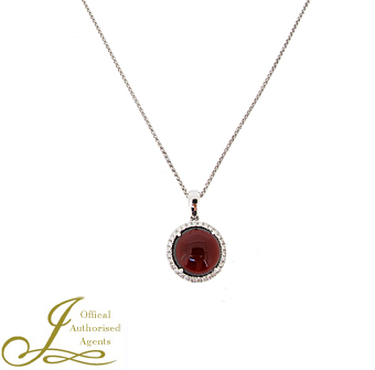 18ct White Gold Garnet + Diamond Pendant