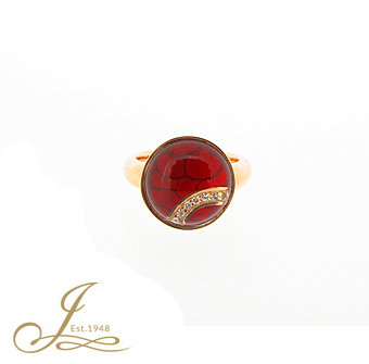 Red enamel, diamond and rock crystal ring