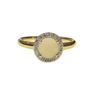 18ct Yellow Gold Opal + Diamond Ring