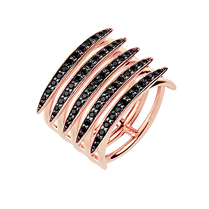 Shaun Leane Rose Gold Vermeil Quill Black Spinel Ring