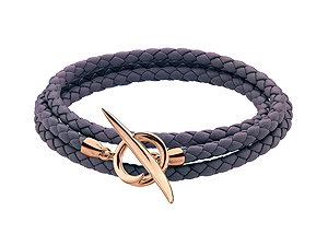 Shaun Leane Rose Gold Vermeil Quill Rose Leather Wrap Bracelet