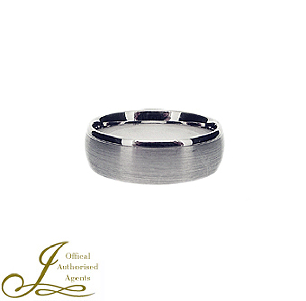 An 18ct white gold 7mm court shaped wedding ring