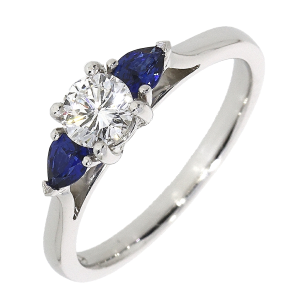 Platinum 0.40ct Diamond + 0.36ct Sapphire Trilogy Ring