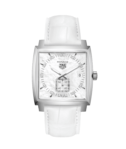 Tag Heuer Monaco white leather strap