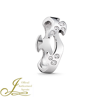 Fusion White Gold Diamond Set Centre Ring