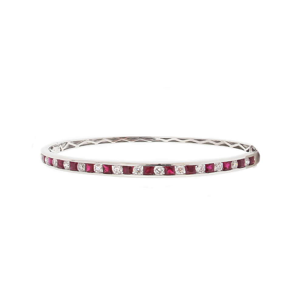 18ct White Gold Ruby + Diamond Bangle