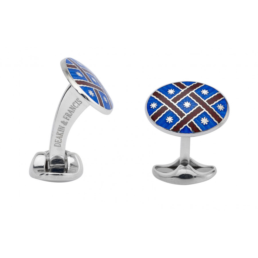 Sterling Silver Royal Blue and Maroon Red enamel cufflinks