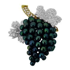 Second Hand Pearl & Diamond Grape Bunch Brooch