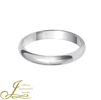 3mm D-Shaped Wedding Band