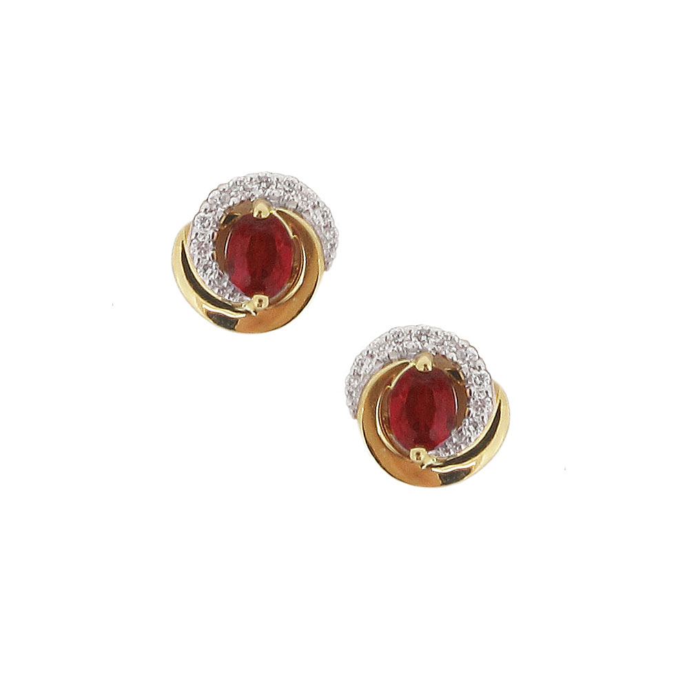 18ct Yellow Gold Ruby + Diamond Earrings
