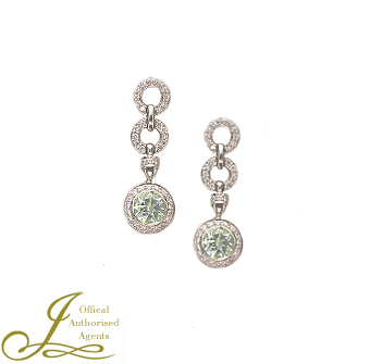 18ct White Gold Aquamarine + Diamond Earrings