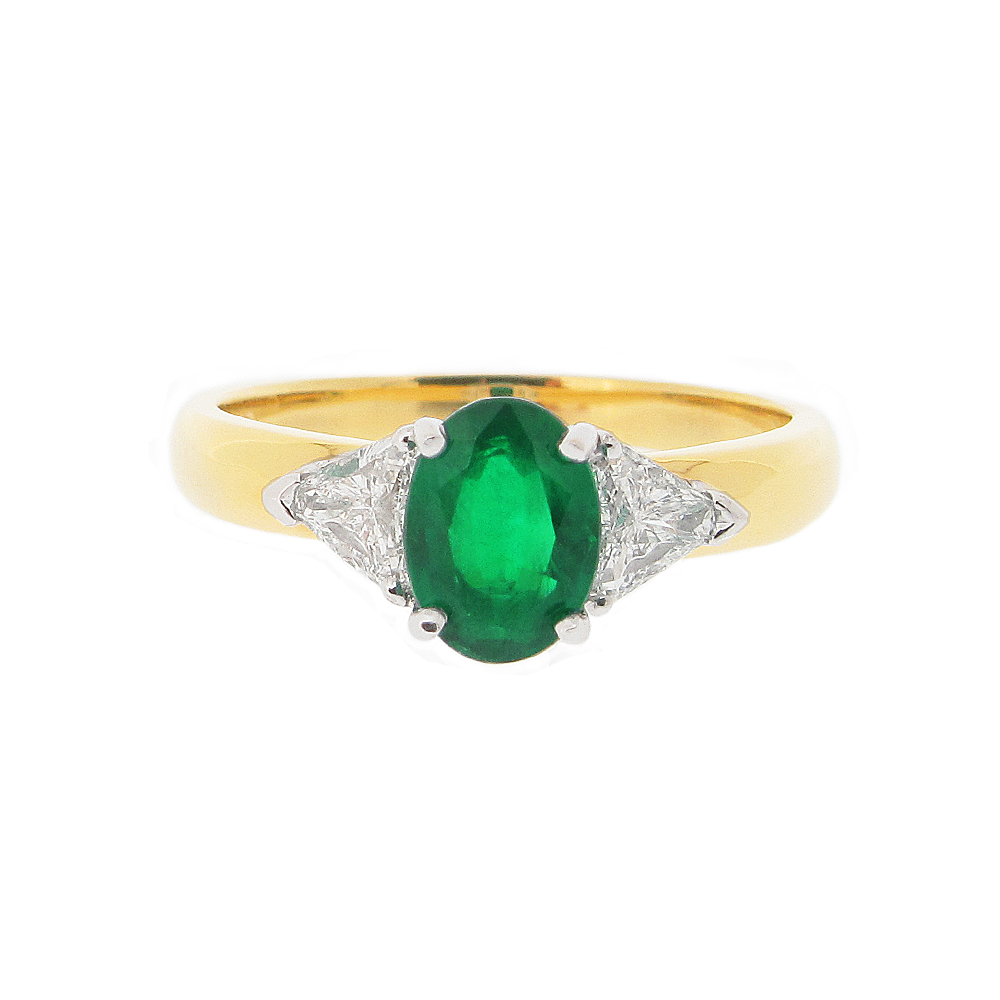 18ct Yellow Gold Emerald + Diamond Ring