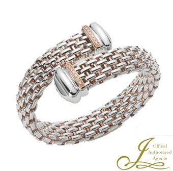 Fope Naos Silver, Palladium and Rose Gold Bangle with Diamonds