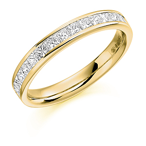 18ct Yellow Gold 0.75ct Diamond Half Eternity Ring