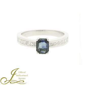 Second Hand 18ct White Gold Sapphire + Diamond Ring