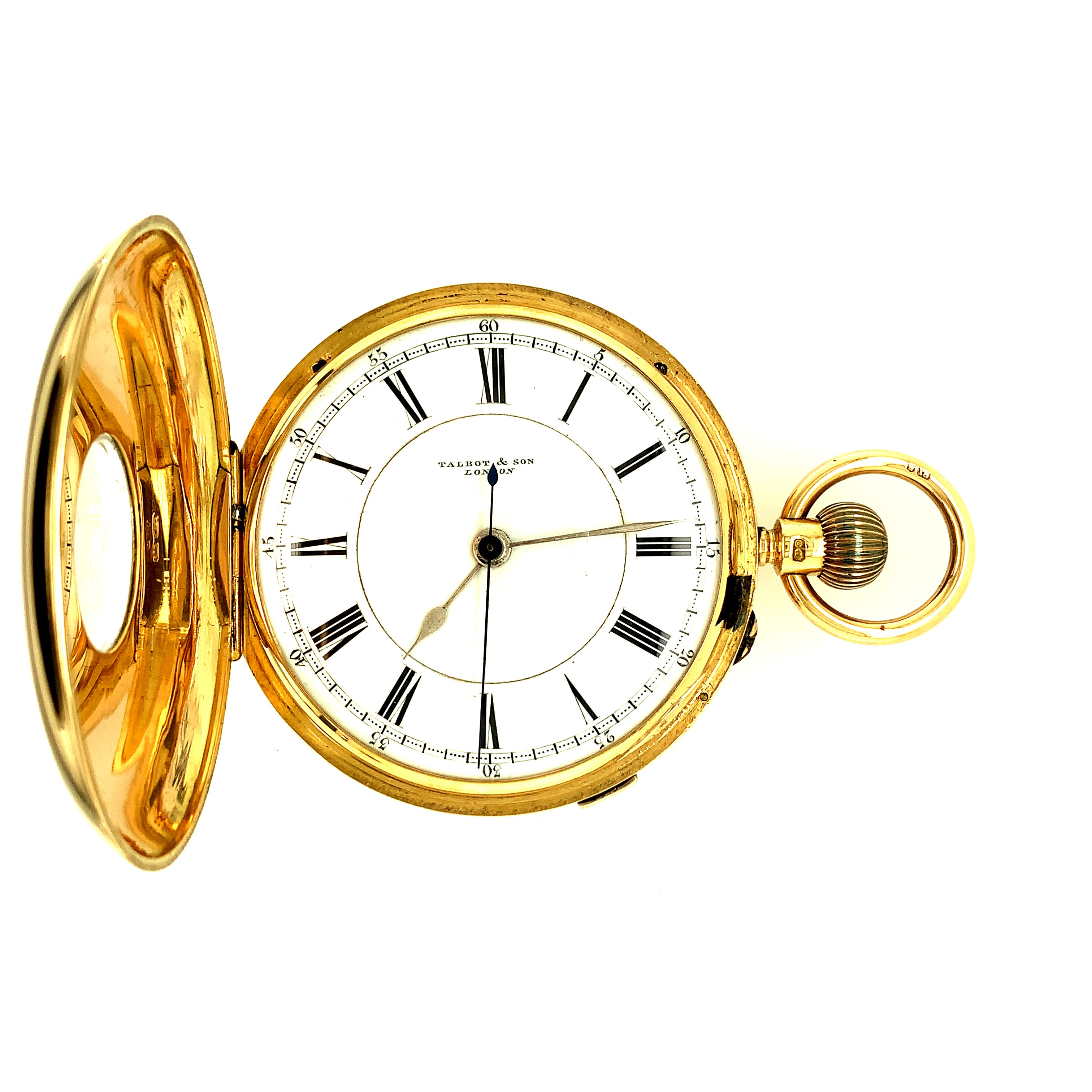 Second Hand 18ct Yellow Gold Talbot and Son Half Hunter Pocket Watch