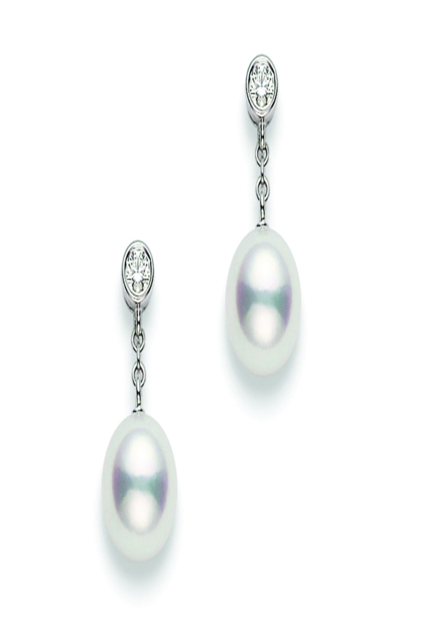 A pair of white gold Classic Mikimoto Pearl drop earrings