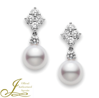 Mikimoto Pearl + Diamond Earrings