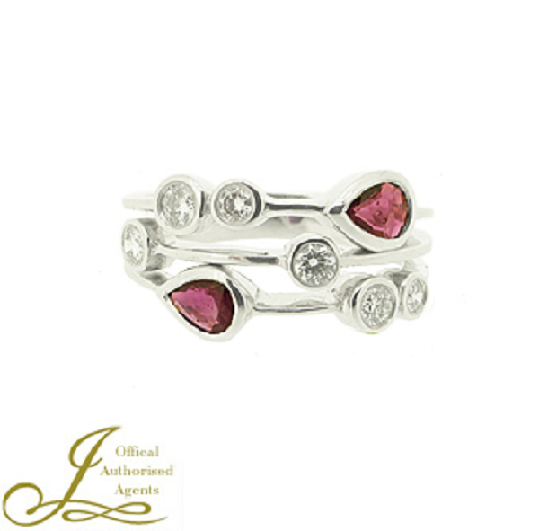 18ct White Gold 0.50ct Ruby + 0.32ct Diamond Ring